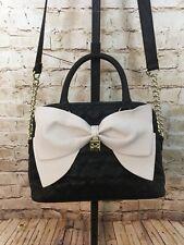 Betsey Johnson Convertible Big Bow Handbag Quilted Black Cream