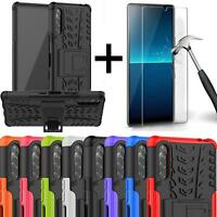 For Sony Xperia L4 Case Armour Shockproof Phone Cover + Screen Tempered Glass