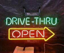 """Drive Thru Open Neon Lamp Sign 17""""x14"""" Bar Light Glass Artwork Decor Wall"""