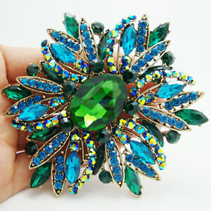 New Elegant Flower Gold Tone Large Brooch Pin Green Rhinestone Crystal