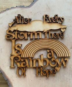 Mdf after every storm there is a rainbow of hope,Ready To Decorate,Laser craft