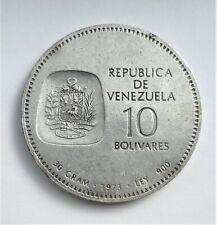 RARE VENEZUELA SILVER COIN - 10 BOLIVARES - 1973 - UNC