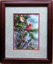 Framed Postcard Northern Cardinals & Black-Capped Chickadee in Pine Tree
