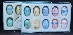 """Twenty (20) Small Easter Egg Hand-Painted Wooden Tree 1 1/8"""" Ornaments"""