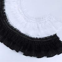 1yd Pleated Lace Edge Trim Elastic Ruffle Ribbon Fabric Doll Skirt 3.54'' Width
