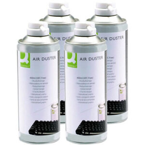 4 x Q Connect Air Duster HFC Free Compressed Gas Spray Can Cleaner 400ml Pack 4
