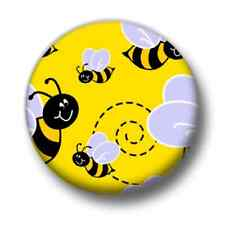 Bees 1 Inch / 25mm Pin Button Badge Honey Save Insects Nature Eco Green Kitsch