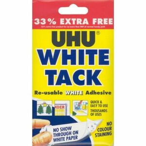 UHU WHITE TAC TACK 33% FREE!!! RE-USABLE REPOSITIONABLE ADHESIVE STRONG PUTTY UK
