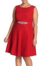 22W ELIZA J Red Crinkle Stretch Jersey Fit & Flare K/L Cocktail Dress NWT $188
