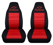 "1993-2002 Chevy camaro FRONT SET car seat covers blk-red w/ ""CAMARO"" DESIGN"