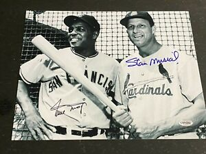 Willie Mays Stan Musial signed 8x10 photo with coa