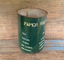 "Vintage 17 1/2 Gallon US Metal Drum Barrel - ""Paper Only"""