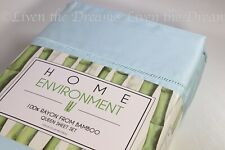 "Home Environment 100% Silky Soft Bamboo Queen Blue Green Sheet Set 18"" Deep"