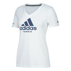 """Adidas Women's White Adi EQT """"Tennis"""" Climalite V-Neck T-Shirt CV2887"""