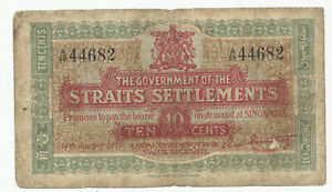 10 Cents 1919 Government of Straits Settlements P#8a KNB16b