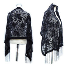 Black Rose Burnout Velvet Silk Scarf Headscarf Women Shawl Winter Glitter Poncho