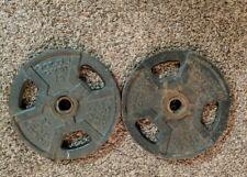 "GOLDS GYM STANDARD GRIP WEIGHT PLATES, 1 1/4"" Center Hole, 2x 25 lb, 50 lb total"