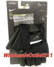 New Nike Studio Grip Training Women's Gloves MEDIUM Black Workout Gym #71