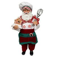 Baker Santa with Whisk and Gingerbread House Figurine 10.5 Inch