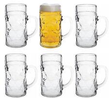 6 Masskrüge aus Glas Literkrüge Bierkrüge Mass Masskrug DHL Versand ab Großlager
