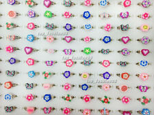 5pcs New Wholesale Lots Flower Children Polymer Clay Silver Rings Free