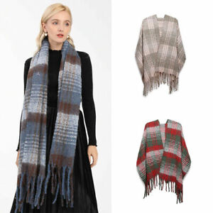 Ladies Soft Scarf Girls Knitted Plaid Blanket Winter Warm Wrap Extra Thick Shawl