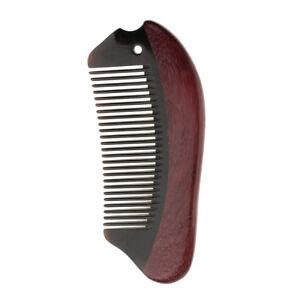 Violet Wood Hair Beard Comb No Static Handmade Premium Natural Black Ox Horn