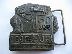 VINTAGE 1980 INDIANAPOLIS MOTOR SPEEDWAY 50 YEARS AT INDY BEAR BELT BUCKLE