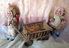 Lot antique Rabbit Easter bunny dolls- hay wagon -hand cart Germany