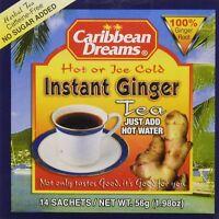 Caribbean Dreams Instant Ginger Tea Un-Sweetened 14 Sachets jamaican ginger X 3