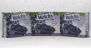Gelatin Lot of 3 Welch's Concord Grape Dessert Welchs Jello BFR