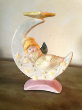 Portalumino Angelo su mezzaluna - In ceramica - Altezza cm 15