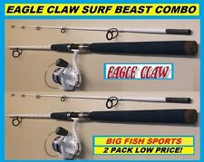 Eagle Claw Saltwater 7' Surf Beast Combo 2-Pack Brand New! Free Usa Shipping!