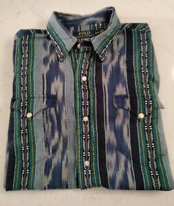 Vintage Polo Ralph Lauren Southwestern Aztec Western Shirt - Blue - Size Medium