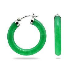 Genuine 925 Sterling Silver 30mm Green Jade Circle Round Hoop Earrings AAA