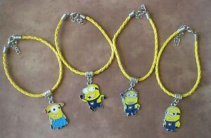 Despicable Me 2 MINIONS Yellow Leather Bracelet Dangle Bead Charm Bracelet