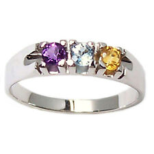 Ring engagement ring trilogy white gold 18 ct with amethyst, blue topaz, citrine