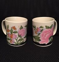 Set of 2 Vintage 1960's Coffee Mugs Pink Floral Japanese  Imported by McCrory's