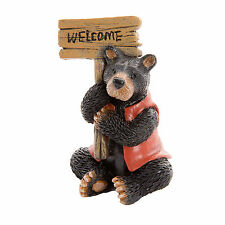 Black Bear w/ Red Coat & Welcome Sign -Resin- Miniature Fairy Garden Dollhouse