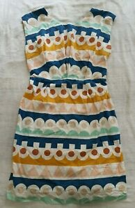 OBUS 100% COTTON Funky Geometric Printed Dress, Size 2/8-10 Casual Career