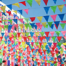100M Triangle Flag Bunting Banner Pennant Festival Wedding Party Decor Colourful
