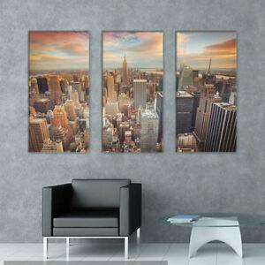 3 Piece Canvas Wall Art - New York City Skyline with Urban Skyscrapers