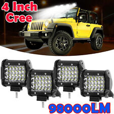 4PCS 4 inch 980W CREE SPOT LED Work Light Bar Quad Rows 4x4 Worklights 12V 24V