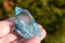 Aqua-Aura Spitze Gruppe A33  ca.5 cm Bergkristall mit Gold bedampft  USA