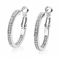 Silver 25mm Double Sided Hoop Earrings with Crystals from Swarovski®