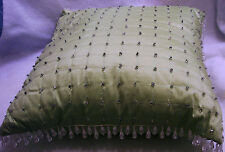 "14"" square DESIGNER THROW PILLOW COVER-TOPSTITCH~SILK w GLASS BEADS~BUTTON BACK"