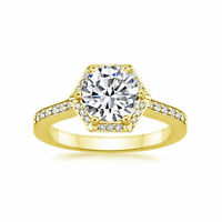 1.00Ct Solitaire Diamond Band Hallmarked 14K Yellow Gold Engagement Ring Size N