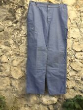 Vintage Blue French Cotton Work Pants Trousers Button Fly Old 36 W Inseam 30