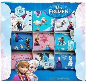 Lot of 3 Disney Frozen 9 Rolls Sticker Box Set Over 450 Stickers NEW FREE SHIP