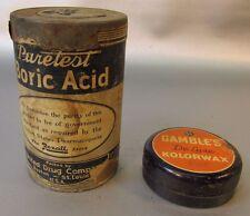 United Drug Full Puretest Boric Acid Old and Gambles Kolorwax tin